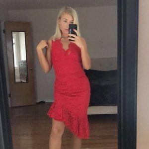 Lace Ruched Asymmetric Hem Midi Dress- Red